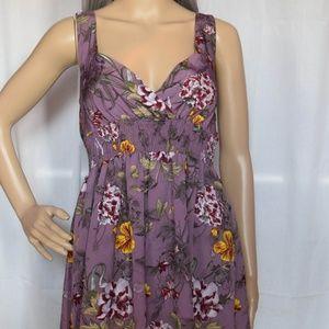 Purple Floral H&M Spring Midi Swing Dress